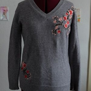 Embroidered Grey Sweater
